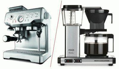 Капельная и рожковая кофеварки